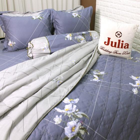 Bộ vỏ chăn ga gối 5 món cotton satin Hàn Julia 401BM18