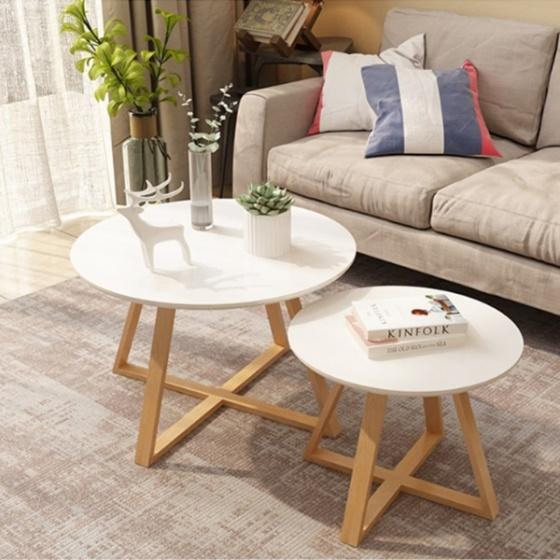 Combo bàn trà sofa chân gỗ sồi