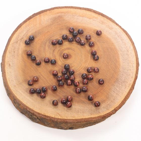 Combo 5 viên đá mắt hổ nâu đỏ 6mm - Ngọc Quý Gemstones