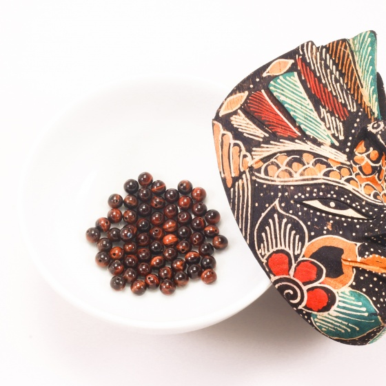Combo 10 viên đá mắt hổ nâu đỏ 6mm - Ngọc Quý Gemstones