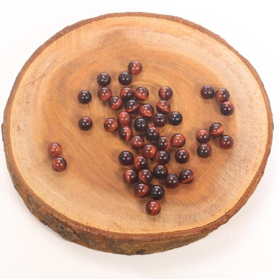 Combo 5 viên đá mắt hổ nâu đỏ 8mm - Ngọc Quý Gemstones