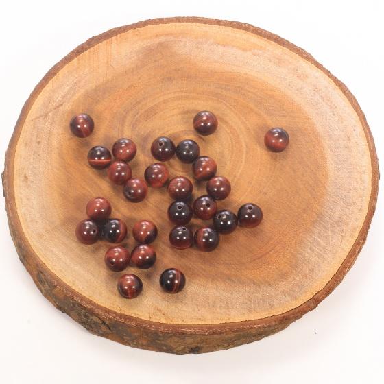 Combo 10 viên đá mắt hổ nâu đỏ 10mm - Ngọc Quý Gemstones