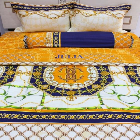 Bộ chăn ga gối 5 món cotton satin Hàn Julia 493BG16