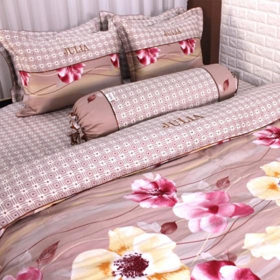 Bộ chăn ga gối 5 món cotton satin Hàn Julia 491BG18