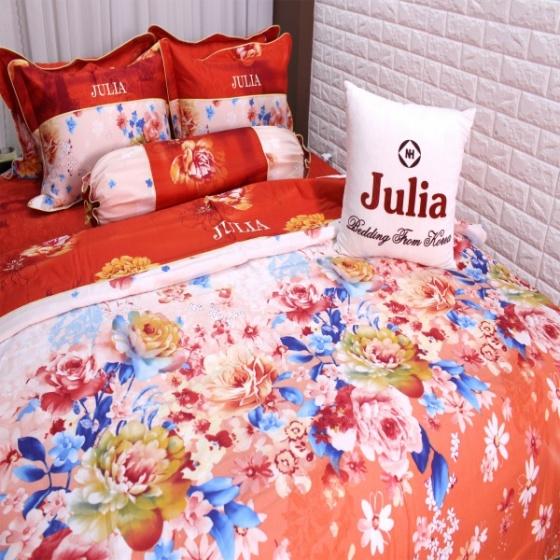 Bộ chăn ga gối 5 món cotton satin Hàn Julia 494BG16