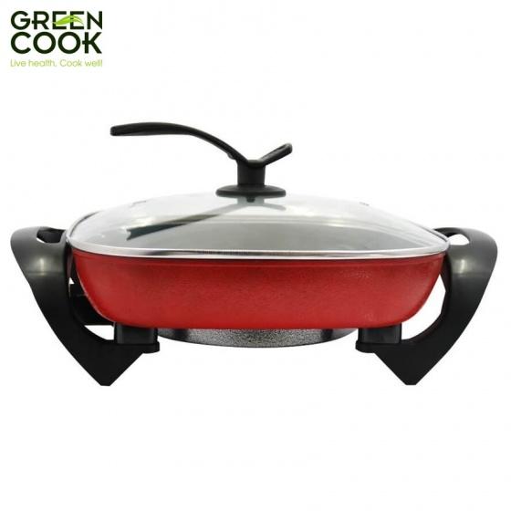 Lẩu, nướng điện nguyên khối chống dính Green Cook GCEH30 chuẩn Hàn Quốc 5L 30cm