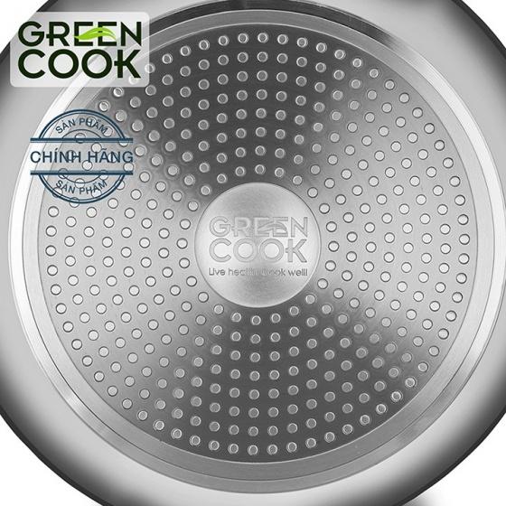 Chảo từ sâu lòng vân đá chống dính tráng gương Green Cook GCP04-28IH size 28cm