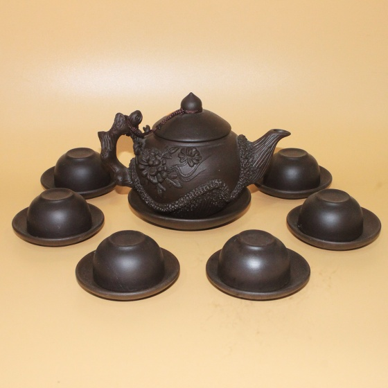 Bộ ấm trà Tử Sa Bát Tràng hoa Phù Dung đắp nổi