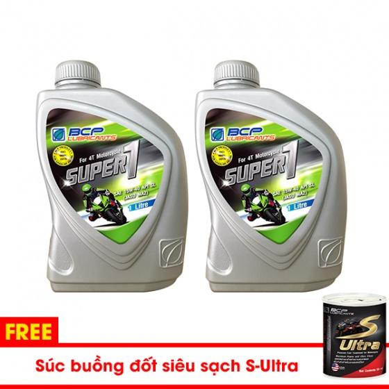 2 chai nhớt Thái Lan nhập khẩu cho xe số BCP API SL - JASO MA2 - 1L tặng súc buồng đốt S-Ultra