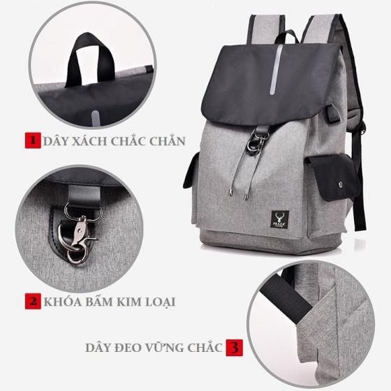 Combo balo nam nữ, balo dây rút cao cấp có cổng sạc USB và túi đeo chéo Praza - BL181DC095