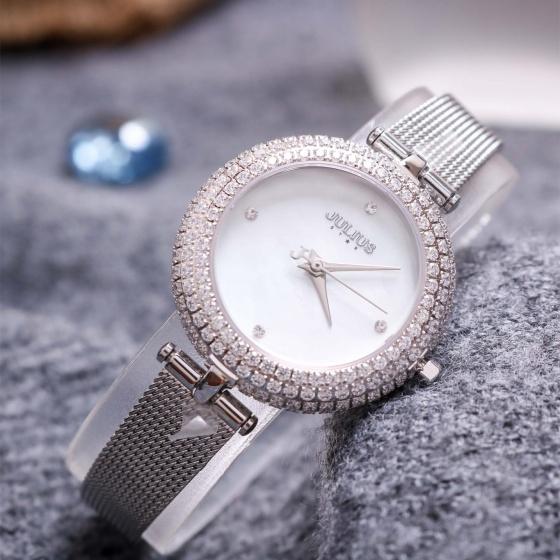 Đồng hồ nữ Julius Star Hàn Quốc JS-041 mặt khảm trai đính đá