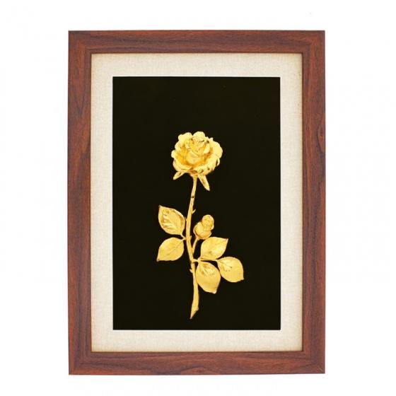 Tranh bông hoa hồng mạ vàng 24K