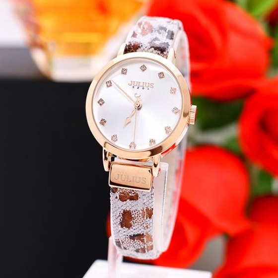 Đồng hồ nữ Julius ja-976c dây da phối vải ( nâu)