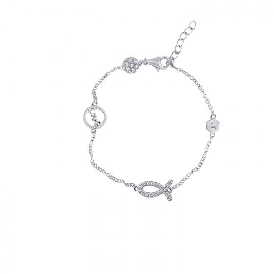 Lắc tay White Love Fish Jadmire bạc Ý 925 cao cấp mạ Platinum đính đá Swarovski trắng