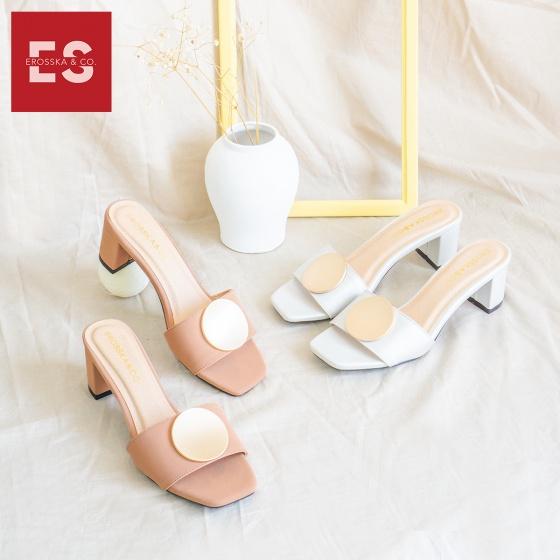 Dép cao gót Erosska thời trang mũi vuông họa tiết tròn cao 5cm EM035 (màu bạc)