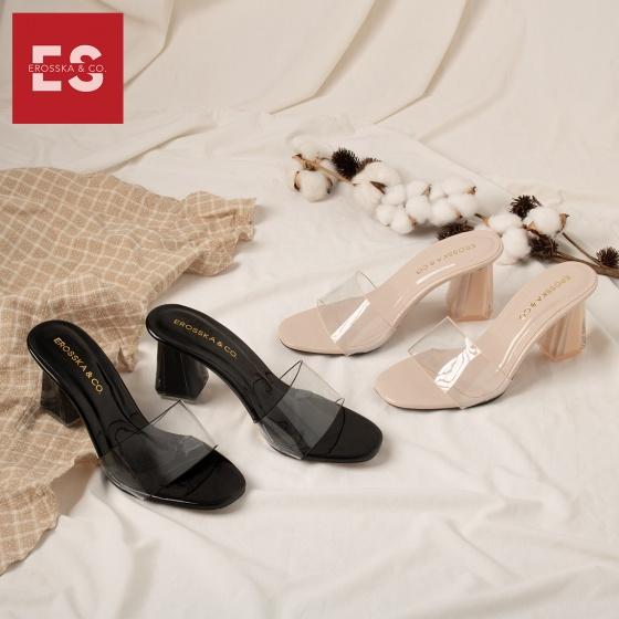 Dép mule cao gót quai trong Erosska thời trang mũi vuông gót trong cao 9cm EM040
