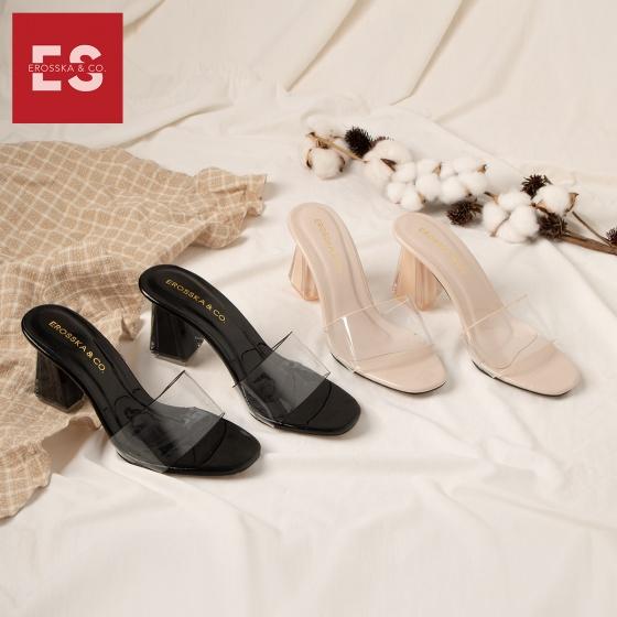 Dép mule cao gót quai trong Erosska thời trang mũi vuông gót trong cao 9 cm EM040 (màu đen)
