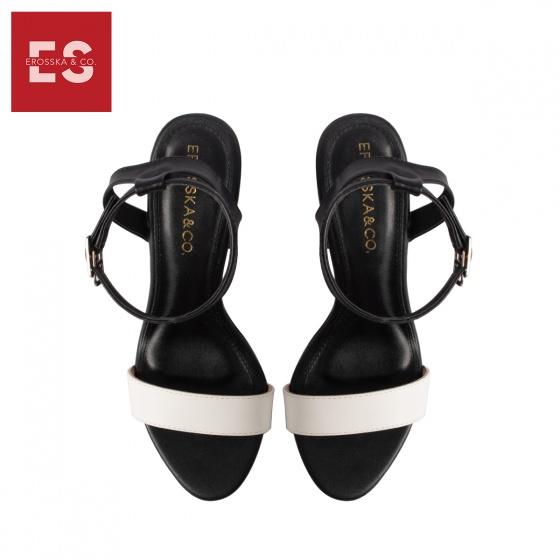 Giày sandal cao gót Erosska thời trang mũi tròn phối dây hở gót cao 9cm EB014 (màu đen )