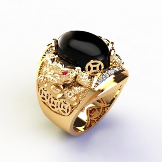 Nhẫn nam thần tài bạc mạ vàng 18k - RM01072