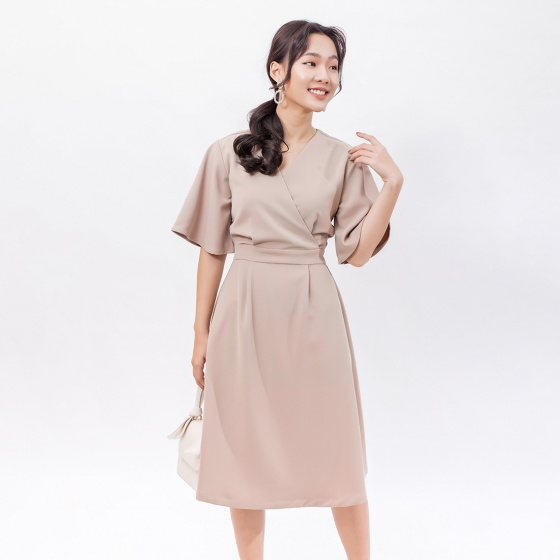 Váy đầm công sở thời trang Eden cổ tim đắp chéo - D397