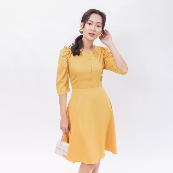 Váy đầm công sở thời trang Eden tay lỡ cổ tròn phối nút - D398