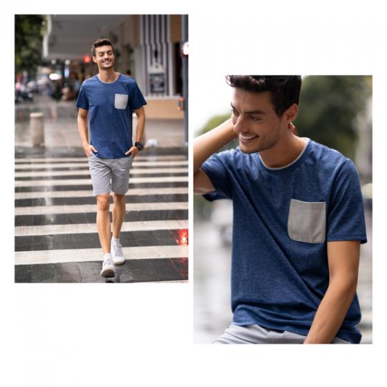 Áo phông nam ngắn tay ( regular fit) màu xanh DGC - WAT1814M
