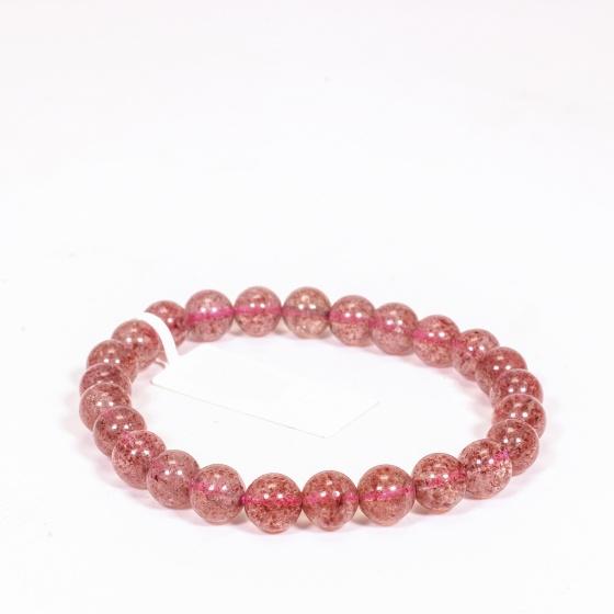 Vòng tay đá thạch anh ưu linh dâu đỏ nhạt size hạt 7mm mệnh hỏa, thổ - Ngọc Quý Gemstones