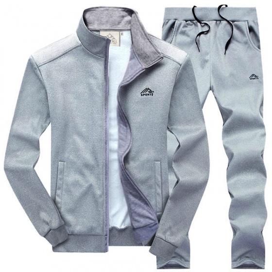 Bộ áo khoác thể thao thu đông cao cấp thương hiệu bonado - xám trắng
