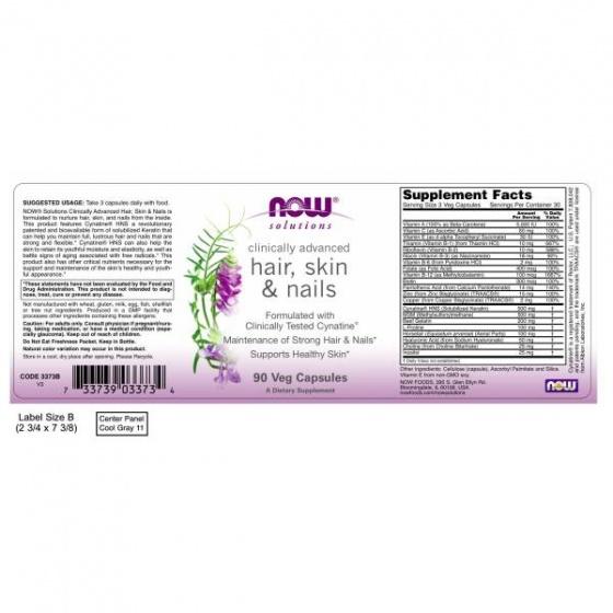 Thực phẩm bổ sung vitamin, khoáng chất thảo dược giúp hỗ trợ làm đẹp da, móng tóc NOW - hair skin nails (90 Viên)