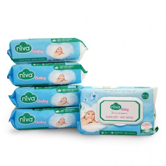Mua 05 khăn ướt Niva 80 tờ (150mmx200mmx45gms) tặng 01 túi 10 chiếc khẩu trang Niva