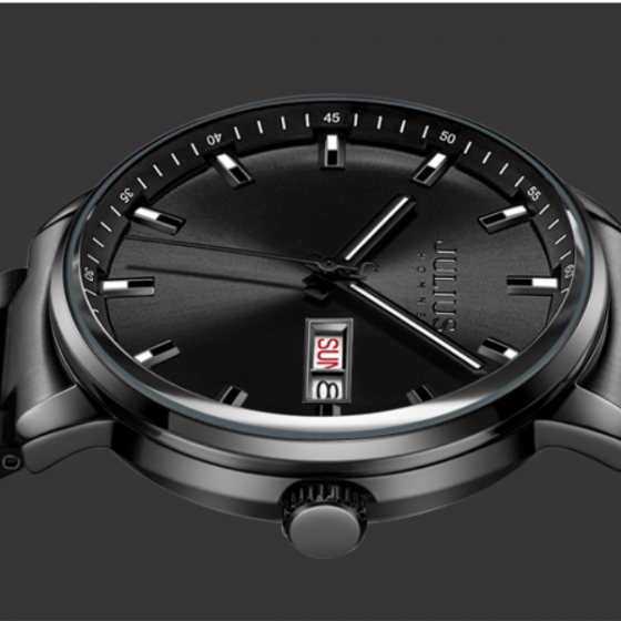 Đồng hồ nam Julius Hàn Quốc chính hãng JAH-114C Bạc mặt đen