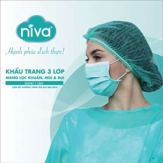 Mua 10 khăn ướt Niva 80 tờ (150mmx200mmx45gms) tặng 02 hộp khẩu trang Niva 20 chiếc