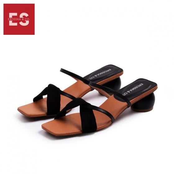 Dép cao gót nữ thời trang Erosska gót tròn mũi vuông quai thắt chéo cao 3 cm EM039 (BA)