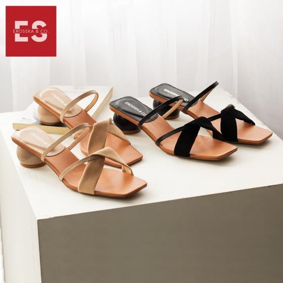 Dép cao gót nữ thời trang Erosska gót tròn mũi vuông quai thắt chéo cao 3 cm EM039 (DD)