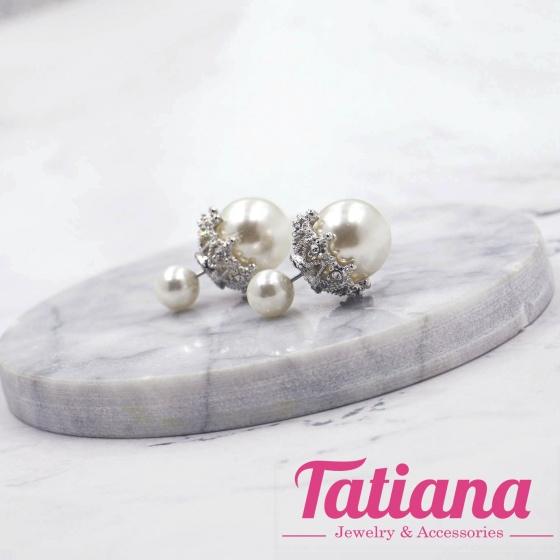 Bông tai hoa văn đính hạt châu - Tatiana - BH2701 (Trắng)