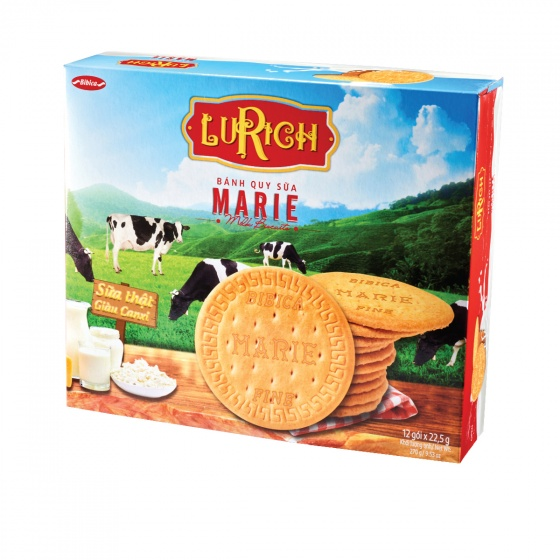 Bánh quy sữa Marie Lurich hộp giấy 270 gram Bibica