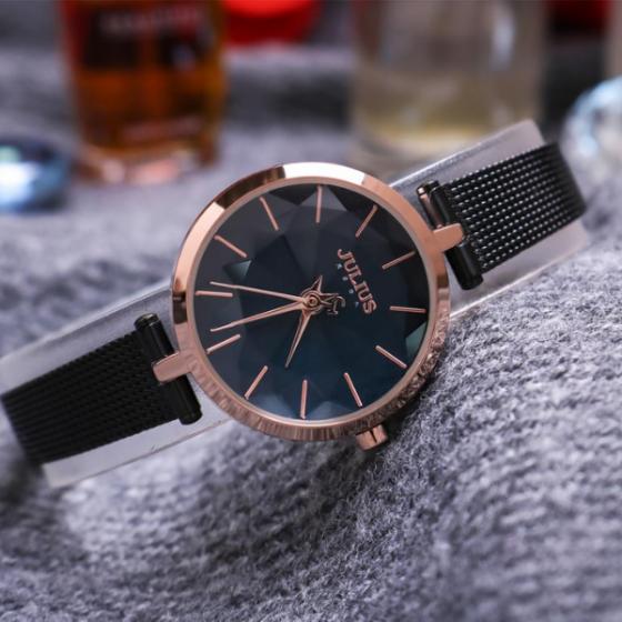 Đồng hồ nữ dây kim loại chính hãng Julius Hàn Quốc JA-1225D Đen mặt xanh.