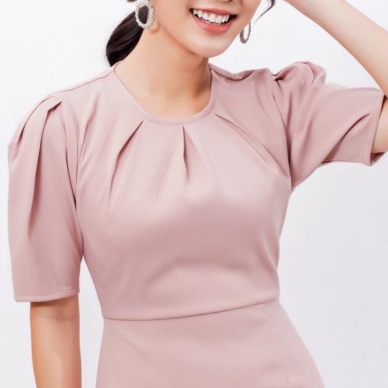 Váy đầm công sở thời trang Eden cổ tròn xếp li - D396
