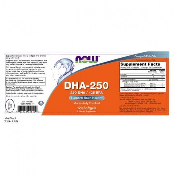 Thực phẩm bổ sung Omega-3 250mg giúp tăng cường sức khỏe cho tim mạch, não, mắt, khớp NOW DHA 250 (120 Viên nang mềm)