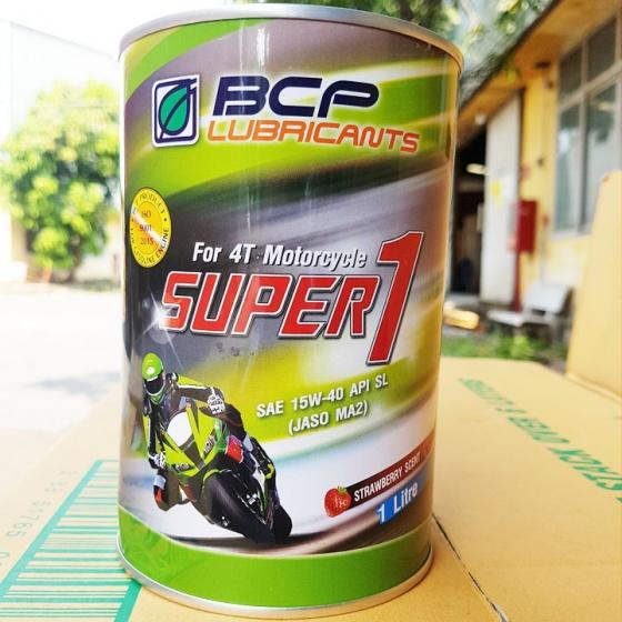 Nhớt dành cho xe số BCP SUPER 1 công thức cải tiến, JASO MA2 Mùi thơm dâu 1 lít