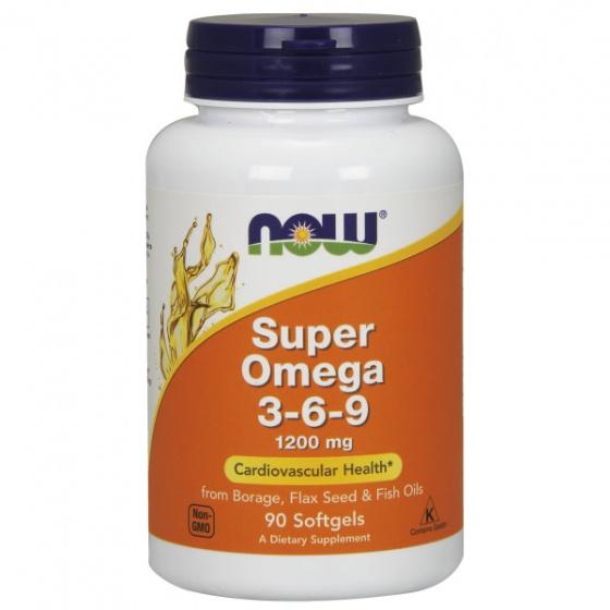 Thực phẩm bổ sung phòng ngừa các bệnh tim mạch, hỗ trợ não, da, mắt NOW - super omega 3-6-9 1200mg 90 viên [QC-Vneshop]