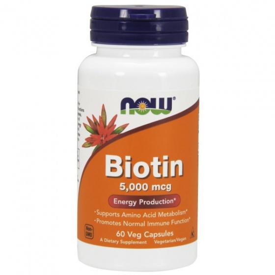 NOW Biotin 5,000mcg - làm đẹp da, móng, tóc, bổ sung 5,000mcg biotin cho da, móng, tóc chai 60 viên