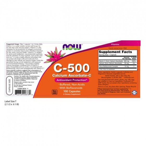 NOW Vitamin C-500 - bổ sung vitamin C giúp chống lão hóa tế bào - tăng hệ miễn dịch chai 100 viên