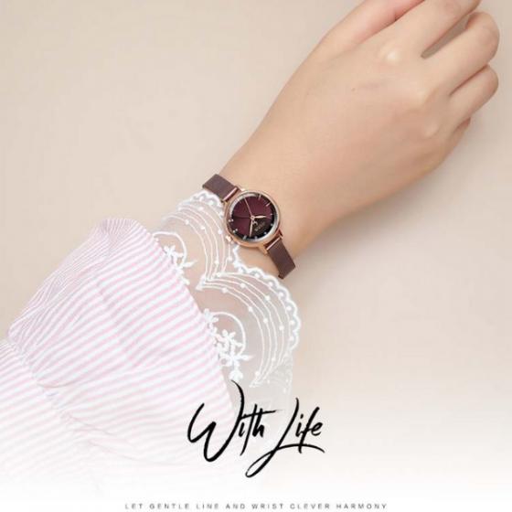 Đồng hồ nữ dây kim loại chính hãng Julius Hàn Quốc JA-1241C tím