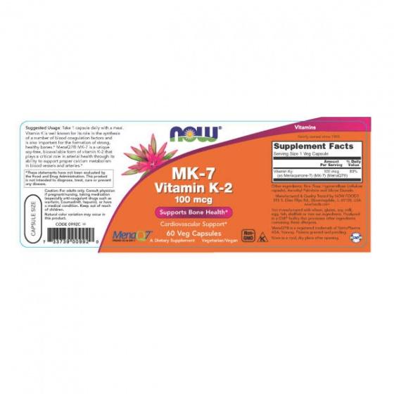 NOW MK-7 vitamin K-2 100mcg - hỗ trợ cho quá trình tạo xương, giúp tăng cường chức năng đông máu chai 60 viên