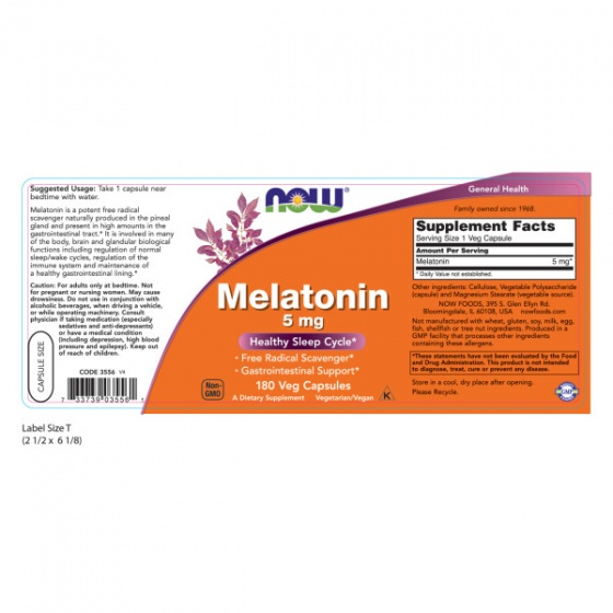 NOW Melatonin 5mg - bổ sung hormone tự nhiên melatonin giúp tạo giấc ngủ một cách tự nhiên chai 180 viên