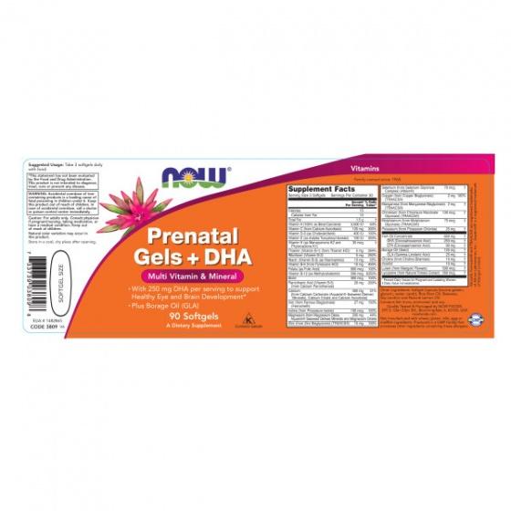 NOW prenatal Gels + DHA - bổ sung dinh dưỡng cho mẹ và bé trước - trong - sau thai kỳ chai 90 viên