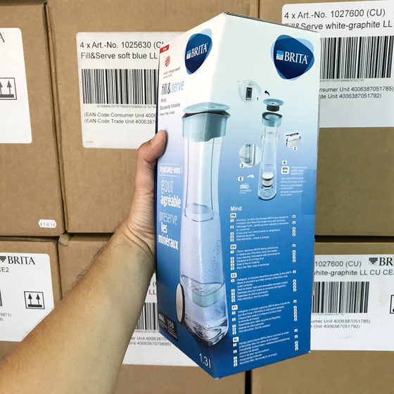 Bình lọc nước Brita Fill and Serve Mind Soft Blue - 1.3L (kèm Microdisc)