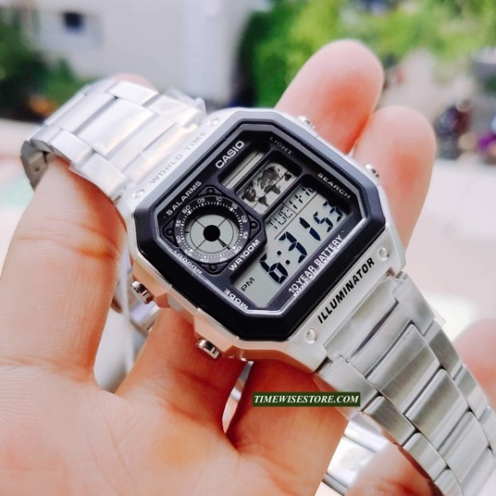 Đồng hồ nam dây kim loại casio LongTime AE-1200WHD-1AVDF,  chính hãng phân phối chính thức