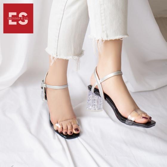 Giày sandal cao gót Erosska thời trang mũi vuông quai mảnh phối mica trong hở gót cao 7cm EB015 (màu vàng bò)